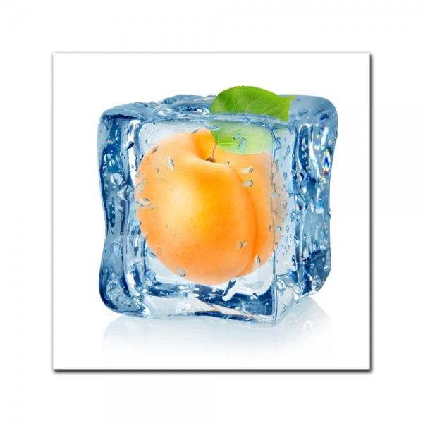 Leinwandbild - Eiswürfel Aprikose