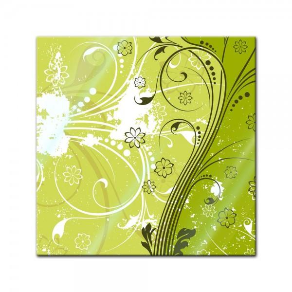 Glasbild - Blumen Grunge