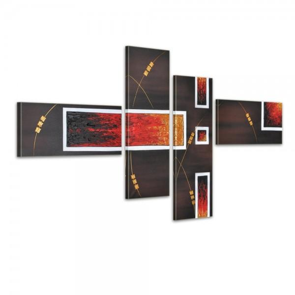 SALE Abstrakt M2 - Leinwandbild 4 teilig 120x70cm Handgemalt