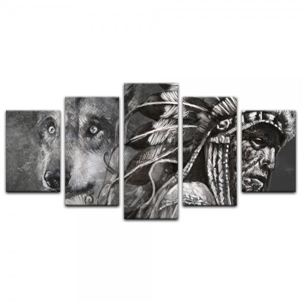 Leinwandbild - Wolf und Häuptling, Tattoo Art