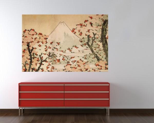 Fototapete Katsushika Hokusai - Alte Meister - Blick auf den Fujijama mit blühenden Kirschbäumen