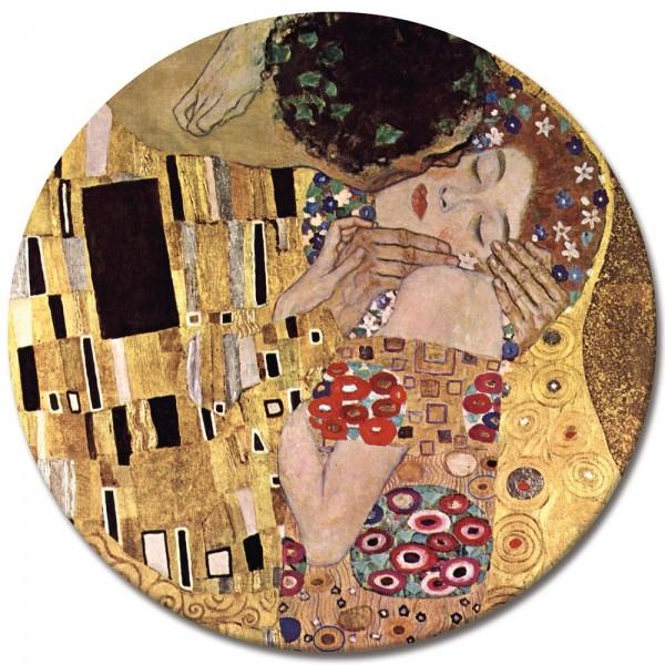 SALE Leinwandbild - Rund - Gustav Klimt Der Kuss - 50x50 cm