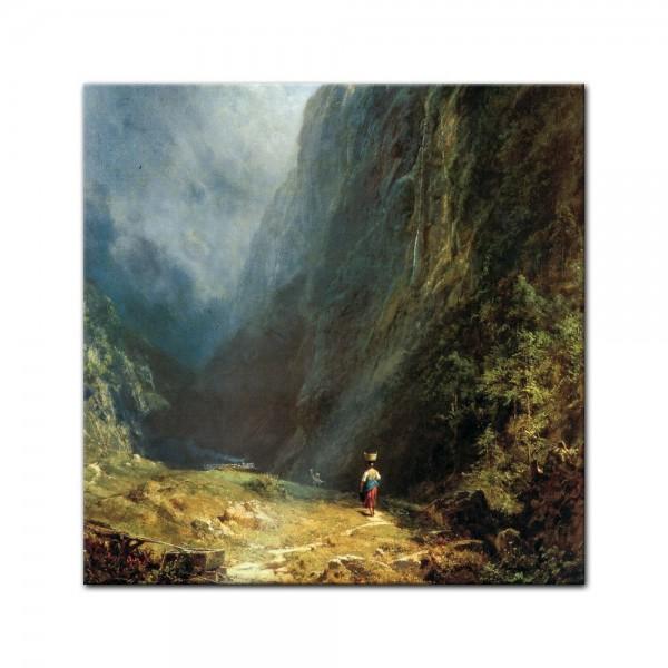 Glasbild Carl Spitzweg - Alte Meister - Mädchen auf der Alm