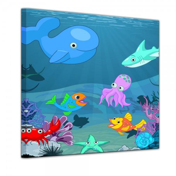 SALE Leinwandbild - Kinderbild Unterwasser Tiere X - 40x40 cm