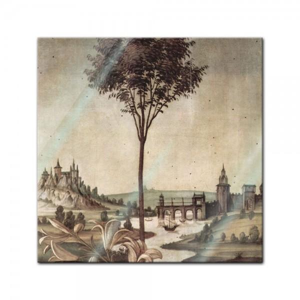 Glasbild Sandro Botticelli - Alte Meister - Landschaft - Detail Verkündigung