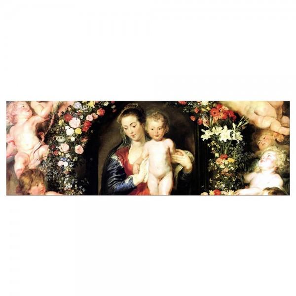 Leinwandbild - Peter Paul Rubens - Madonna im Blumenkranz