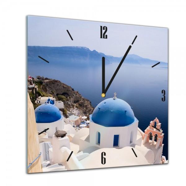 Glasuhr - Städte, Seen & Landschaften - Santorini Blick - 40x40cm
