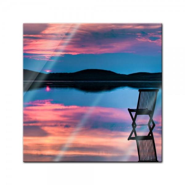 Glasbild - Sonnenuntergang über dem See