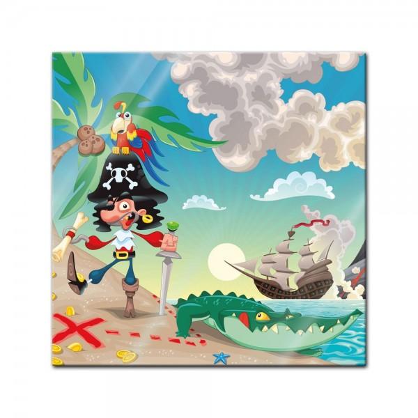 Glasbild - Kinderbild Pirat auf Insel Cartoon