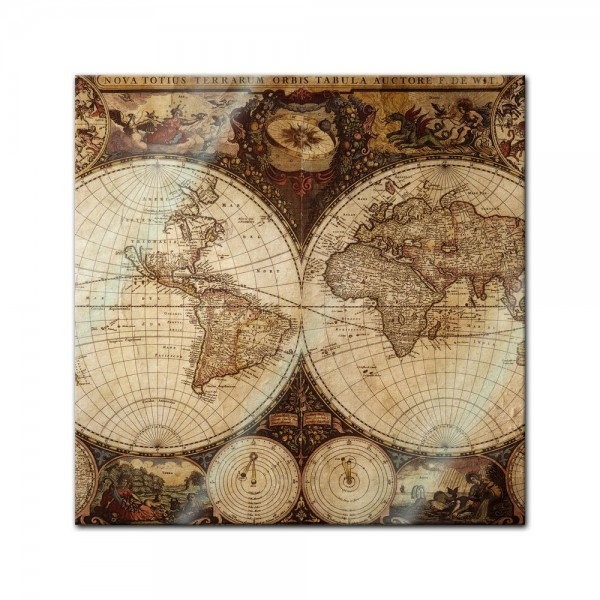 Glasbild - Weltkarte Vintage