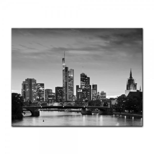 Leinwandbild - Frankfurt Skyline schwarz weiß - Deutschland bei Nacht - Deutschland