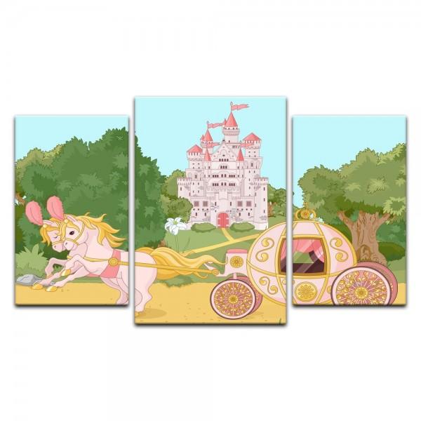 Leinwandbild - Kinderbild - Pferdekutsche mit Schloss