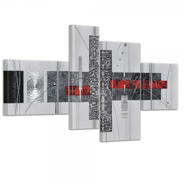 Abstrakte Kunst handgemaltes Leinwandbild 120x70cm 4 teilig 3029