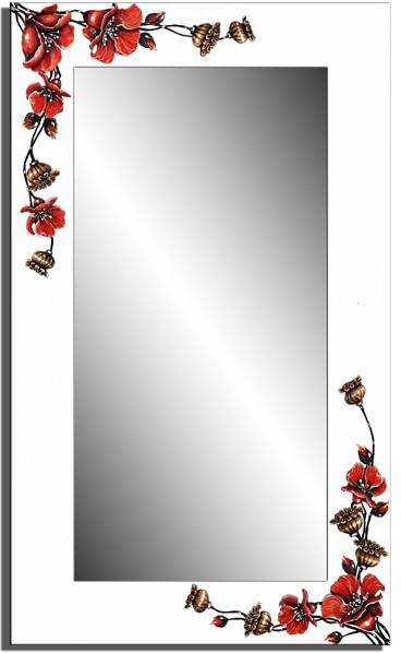 Wandspiegel weiß - 3D Mohn ca. 110x70 cm