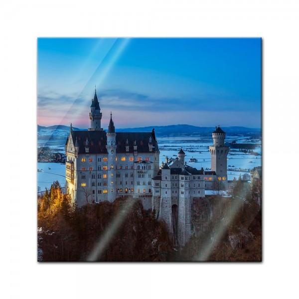 Glasbild - Schloss Neuschwanstein am Abend - Deutschland