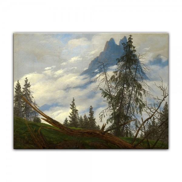 Leinwandbild - Caspar David Friedrich - Berggipfel mit ziehenden Wolken
