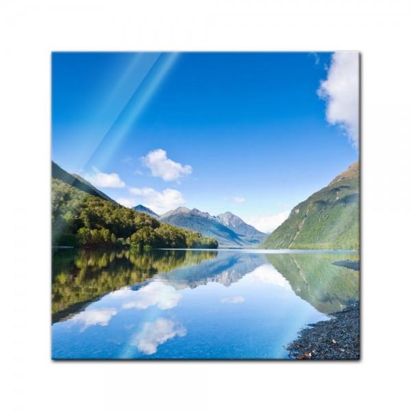 Glasbild - Lake Gunn - Neuseeland