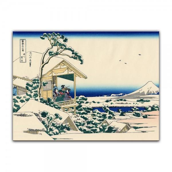 Leinwandbild - Katsushika Hokusai - Verschneiter Morgen bei Koishikawa