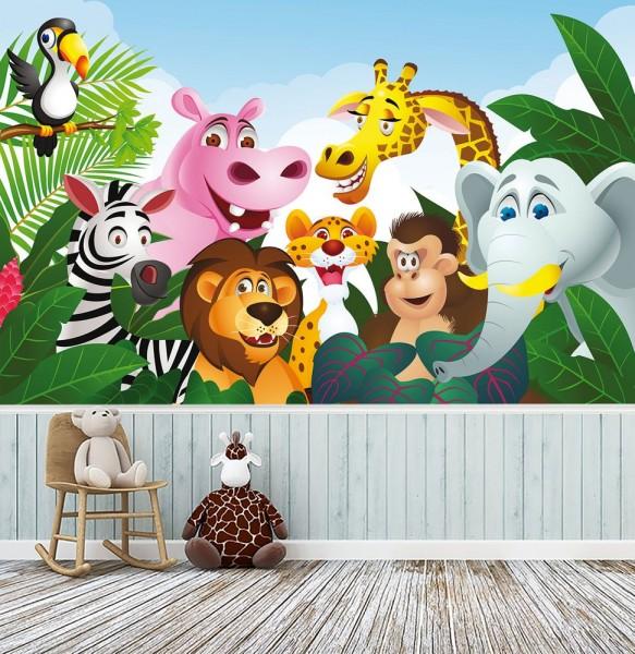 Fototapete - Kinderbild Dschungeltiere Cartoon III