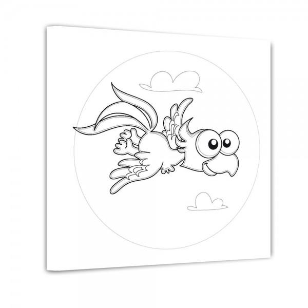 Papagei im Flug - Ausmalbild