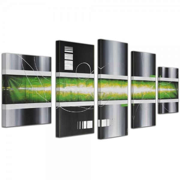 SALE Abstrakte Kunst handgemaltes Leinwandbild 150x70cm 4 teilig 645