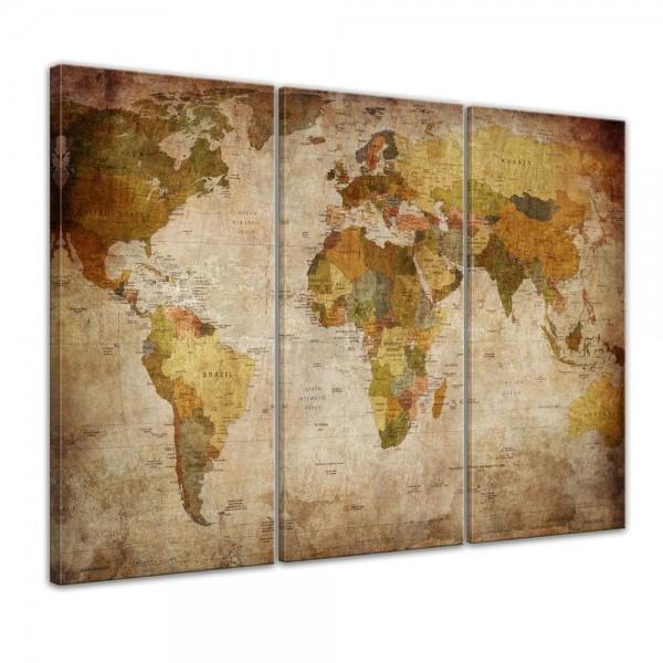 Wandbild - Weltkarte Retro 120x80cm - 3tlg