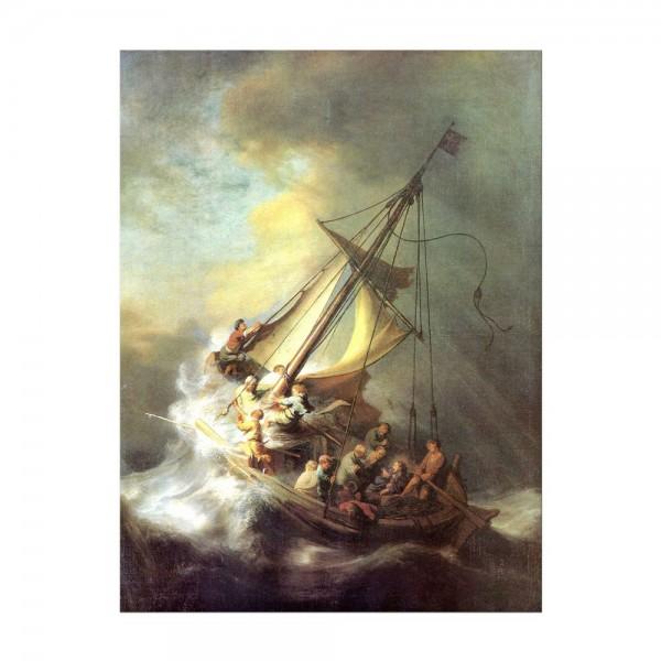 Leinwandbild - Rembrandt - Christus im Sturm auf dem See von Galilea