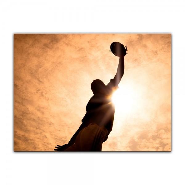 Leinwandbild - Silhouette - Baseballspieler