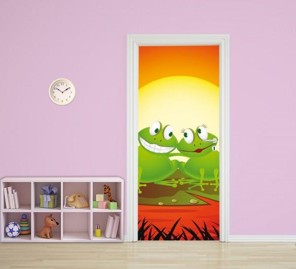 Türaufkleber - Kinderbild Verliebter Frosch Cartoon