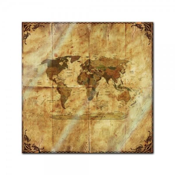 Glasbild - Weltkarte retro II Rahmen und Papier