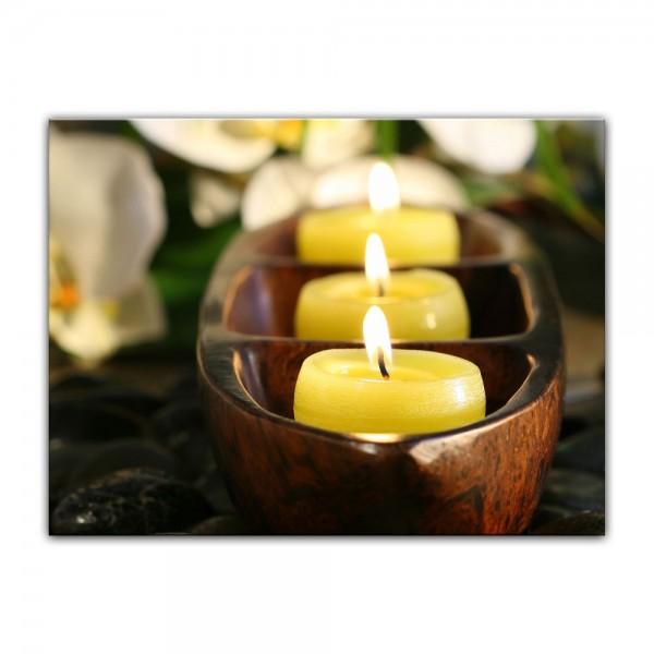 Leinwandbild - Wellness Kerzen