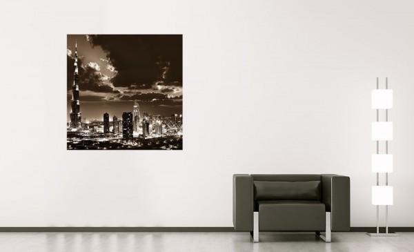 SALE Fototapete Dubai bei Nacht - 150 cm x 150 cm - sephia