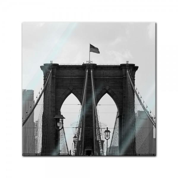 Glasbild - Brooklyn Bridge USA 2
