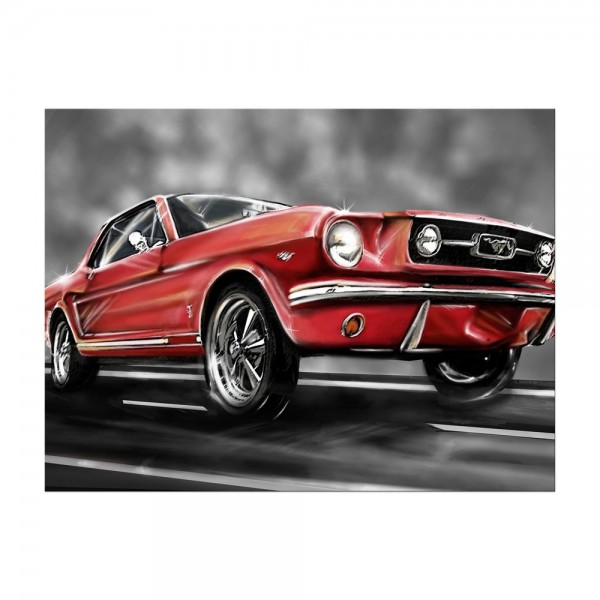 Leinwandbild - Mustang Graphic - rot