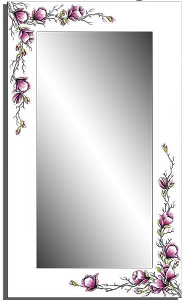 Wandspiegel weiß - 3D Orchidee ca. 110x70 cm