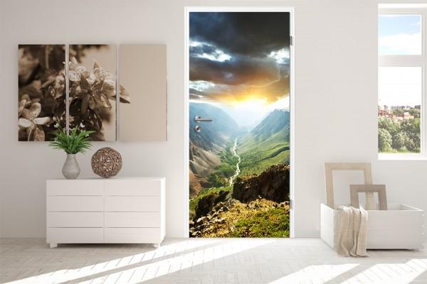 Türaufkleber Berge mit Sonnenuntergang