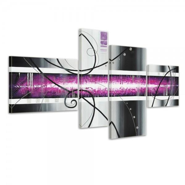 Abstrakte Kunst M7 - Leinwandbild 4 teilig 120x70cm Handgemalt