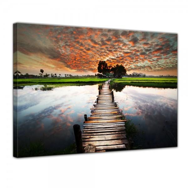SALE Leinwandbild - Tropischer Fluss - 80x60 cm