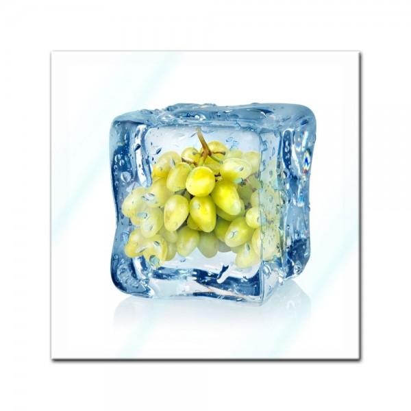 Glasbild - Eiswürfel Weintrauben