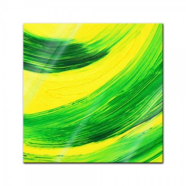 Glasbild - Kraftvolle Ölzeichnung - grüngelb