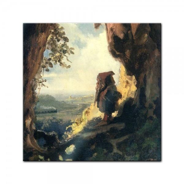 Glasbild Carl Spitzweg - Alte Meister - Gnom, Eisenbahn betrachtend
