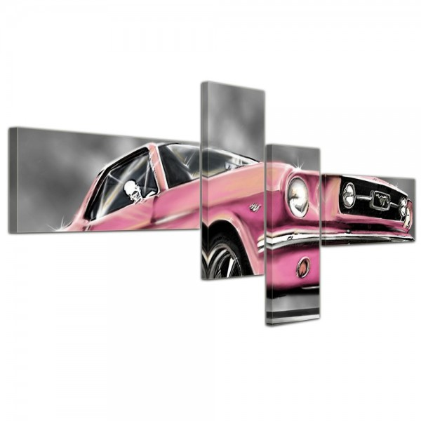 SALE Leinwandbild - Mustang Graphic rosa - 140x65 cm 4tlg