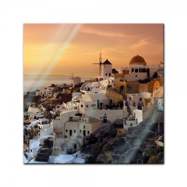 Glasbild - Santorini im Abendrot