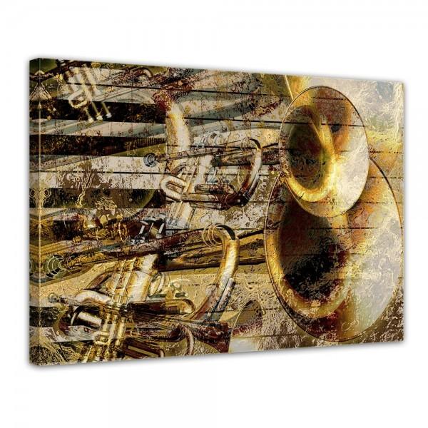 SALE Leinwandbild - Trompete und Piano abstrakt - 120x90 cm