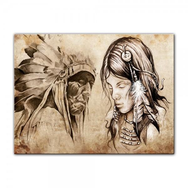 Leinwandbild - Indianer VIII, Tattoo Art