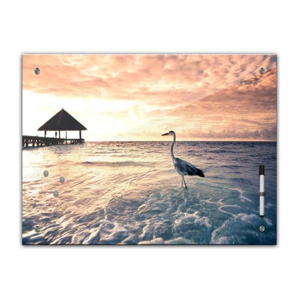 Memoboard - Landschaft - Malediven mit Reiher - 80cmx60cm