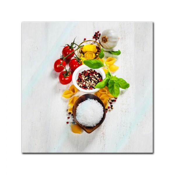 Glasbild - Italienische Pasta III