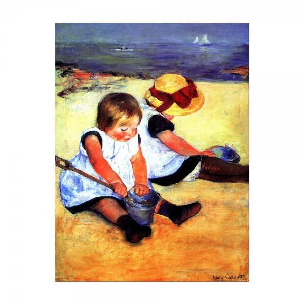 Leinwandbild - Mary Cassatt - Kinder am Strand