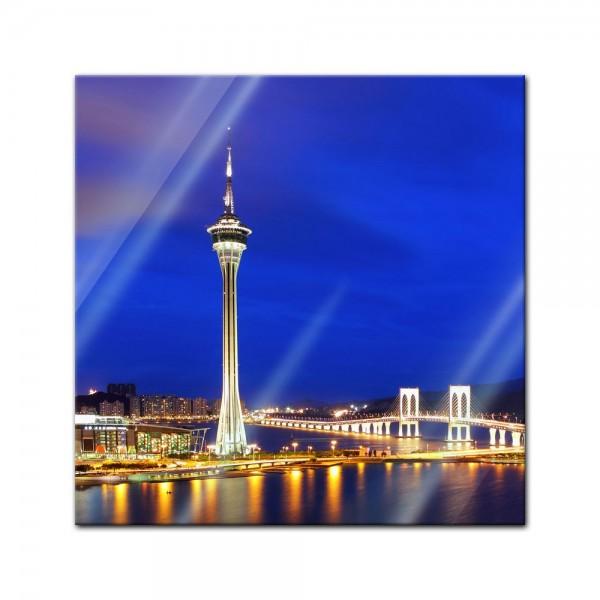 Glasbild - Macau bei Nacht - China