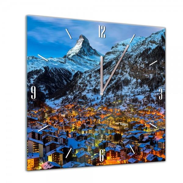 Glasuhr - Städte, Seen & Landschaften - Zermatt am Matterhorn - Schweiz - 40x40cm